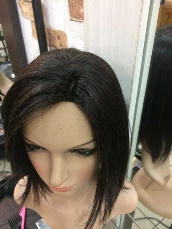 peruca cabelo humano chanel castanho escuro liso