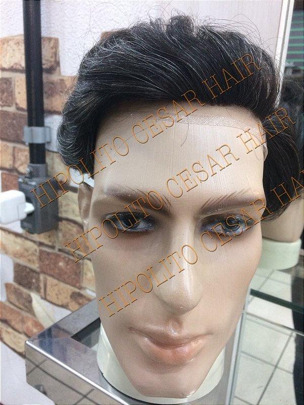 protese masculina lace frontal castanho medio 20%grisalho