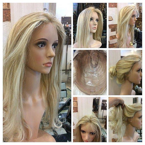 protese  capilar feminina total em micropele cabelo loiro