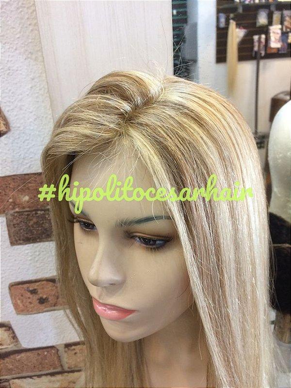 protese capilar  micropele loiro platinado cabelo humano 55 cm