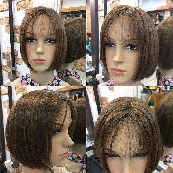 peruca chanel  franja cabelo loiro natural brasileiro cap (p)