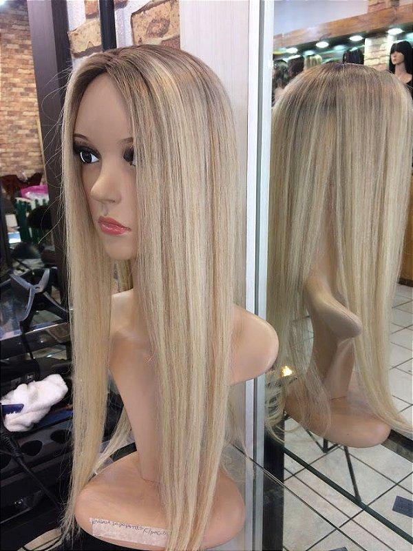 protese capilar feminina loiro platinado  raiz esfumada 60 cm