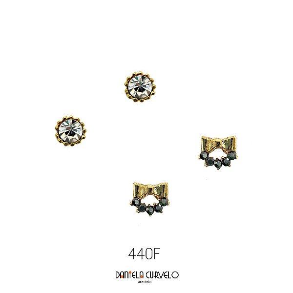 Kit com 2 brincos Ponto de Luz Branco + Lacinho Hematite - BF440DR