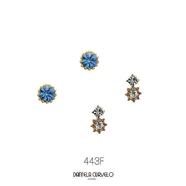Kit com 2 brincos Ponto de Luz Azul Jeans + Florzinha Rosê e Branca - BF443AZ