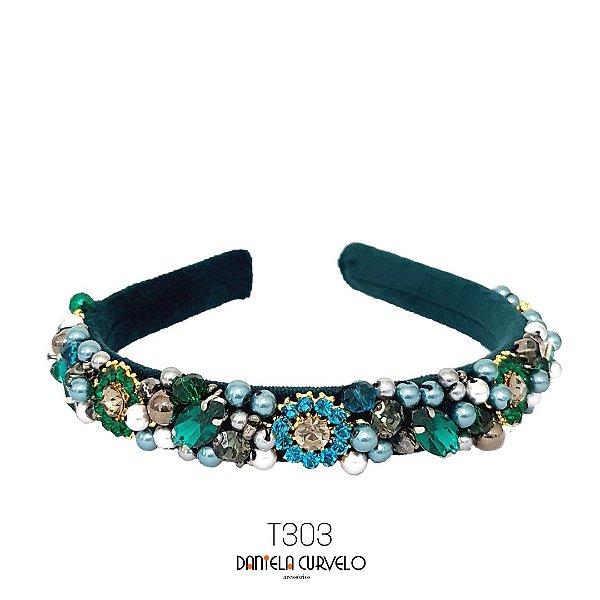 Tiara Média Bordada Verde Pedrarias Cinza Esmeralda e Turquesa - T303