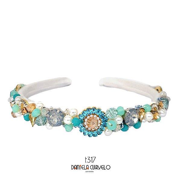 Tiara Fina Bordada Branca Pedrarias Azul Claro, Cinza e Verde - T317