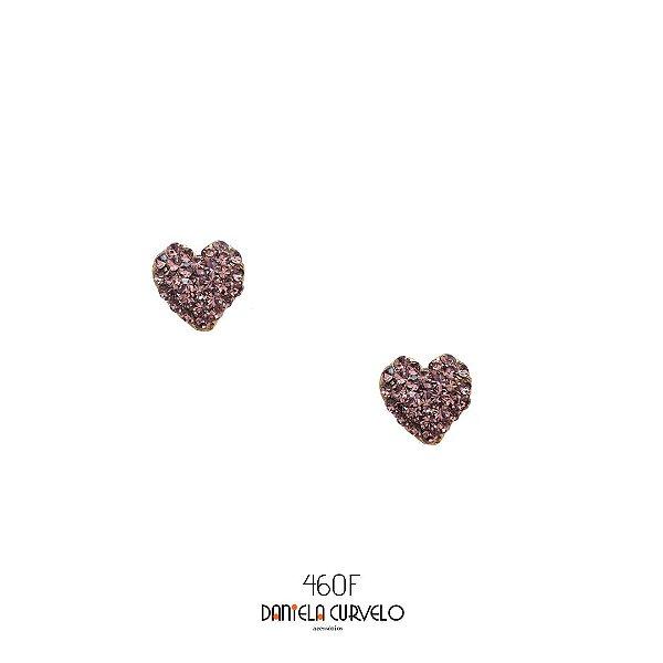 Brinco Coração Strass Lilás - BF460LL