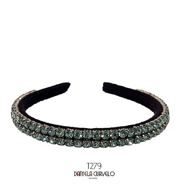 Tiara de Luxo Bordada Fina Preta Strass Cinza - T279
