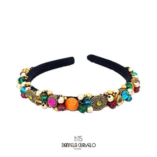 Tiara de Luxo Fina Bordada Preta ,Strass e Pedras Coloridas - TI15