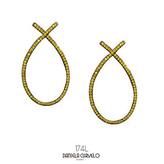 Brinco Luxo Ônix Strass Amarelo Citrine - BL174AM