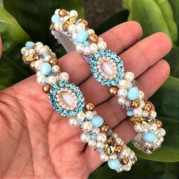 Tiara de Luxo Fina Branca e Azul Clara  - TI73