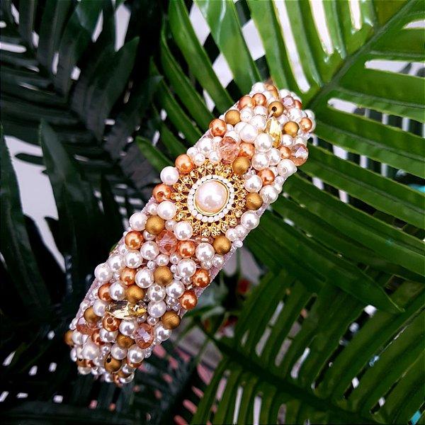 Tiara de Luxo Larga  Pérolas e Dourado  T140