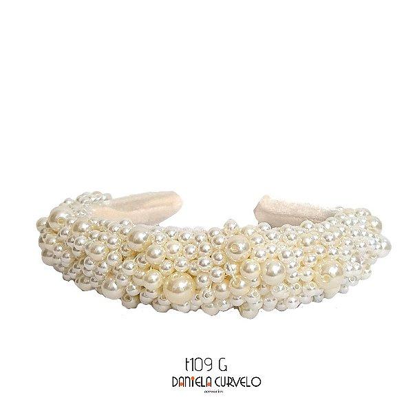 Tiara Bordada Larga Branca de Pérolas - T109GROSSA