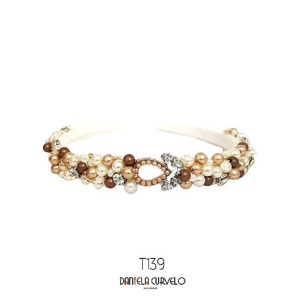 Tiara de Luxo Bordada Fina Pérola Rosê, Cobre e Cristal - T139