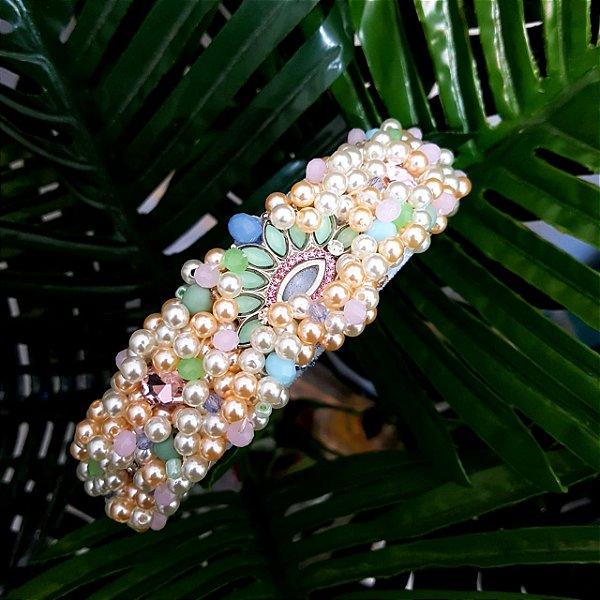 Tiara de Luxo Larga Candy Color Fundo Azul Pingente Verde e Rosa - T144