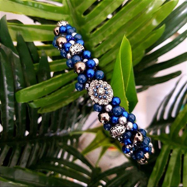 Tiara de Luxo Fina Preta e Azul Pingente Flor - TI102PF