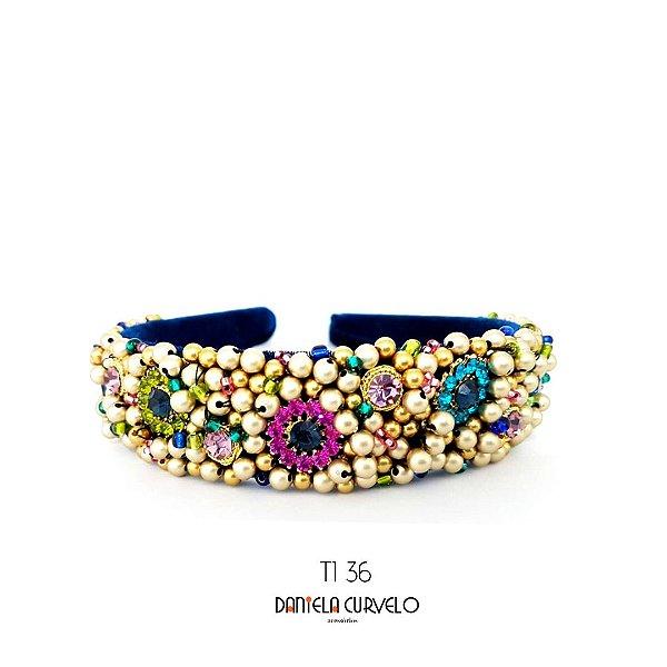 Tiara de Luxo Grossa Azul com Flores Coloridas - TI36