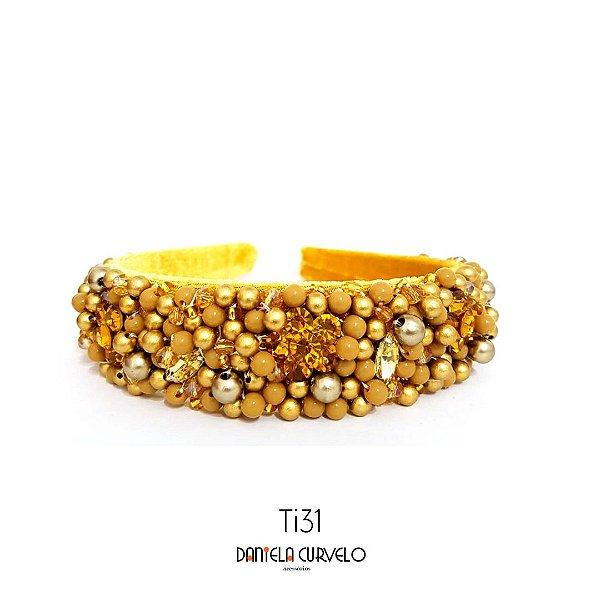 Tiara de Luxo Bordada Grossa Mostarda com Dourado TI31