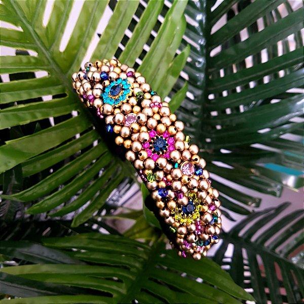 Tiara de Luxo Grossa Preta com Flores Coloridas - TI36PO