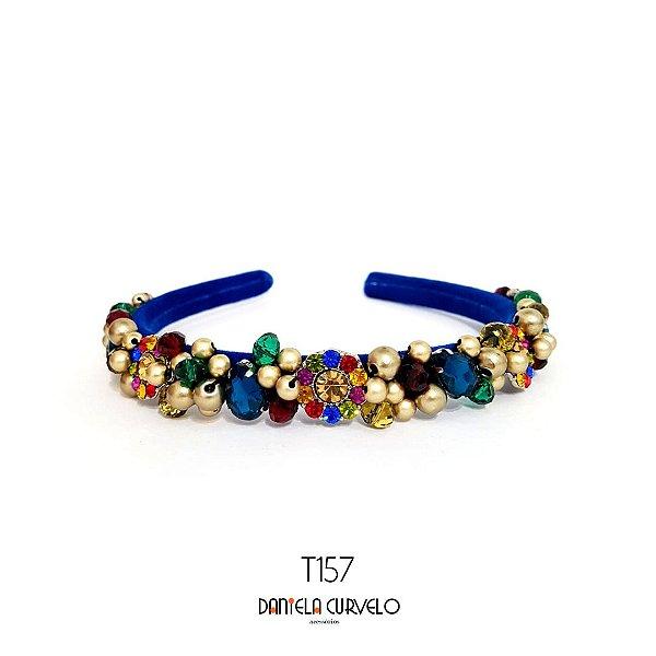 Tiara de Luxo Bordada Fina Azul Pedrarias Coloridas - T157
