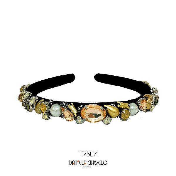 Tiara de Luxo Bordada Fina Preta Pedrarias Douradas, Brancas e Rosê - T125CZ