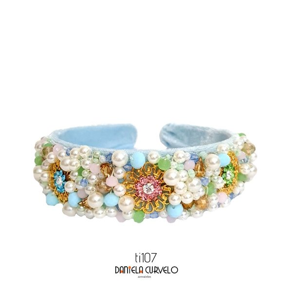 Tiara de Luxo Grossa Candy Color Azul Clara - TI107