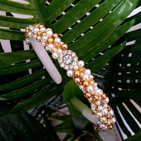 Tiara de Luxo Fina Flores Rosê  - TI67