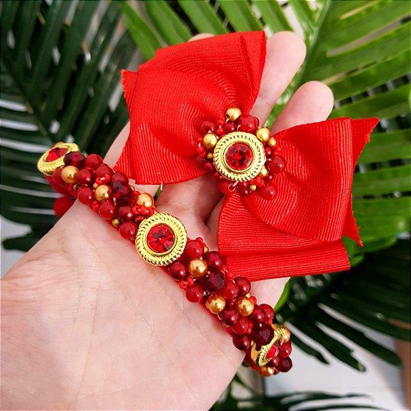 KITL13 - Laço Vermelho Pedrarias + Tiara Bordada Fina Vermelha e Dourada