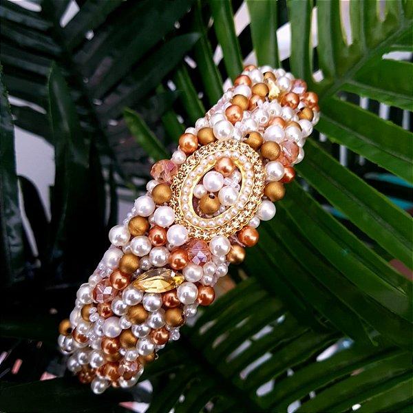 Tiara de Luxo Larga Champanhe Pérolas e Dourado  T140RED
