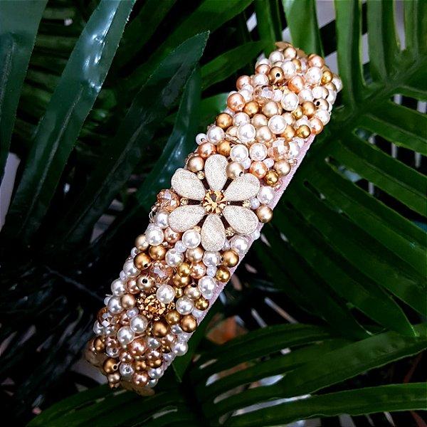 Tiara Bordada Larga Rosa e Flores Douradas - T167