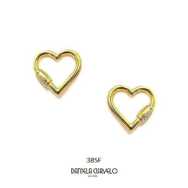 Brinco Coração Grande Dourado - BF385DR