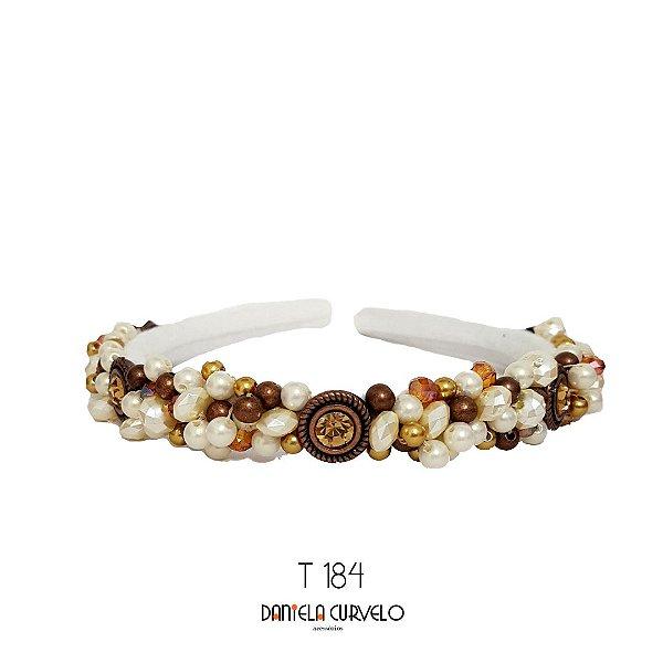 Tiara de Luxo Bordada Fina Branca Pedrarias Cobre, Douradas e Pérolas - T184
