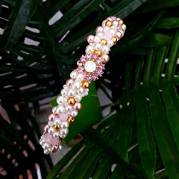 Tiara de Luxo Fina Branca com Flores Rosa Claro  - T83