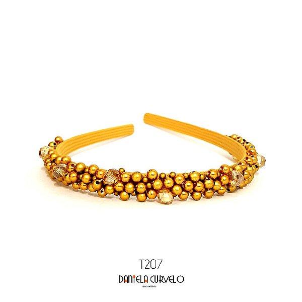 Tiara Bordada Fina Pedrarias Dourada - T207