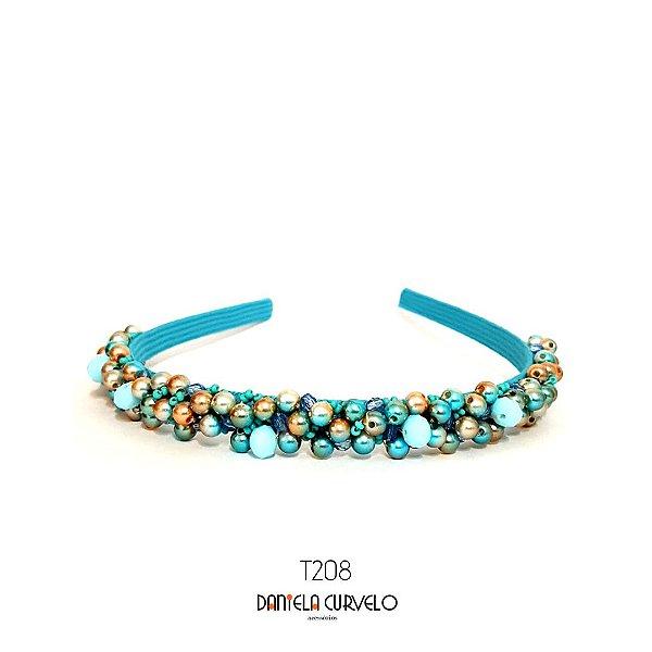 Tiara Bordada Fina Pedrarias Azul- T208