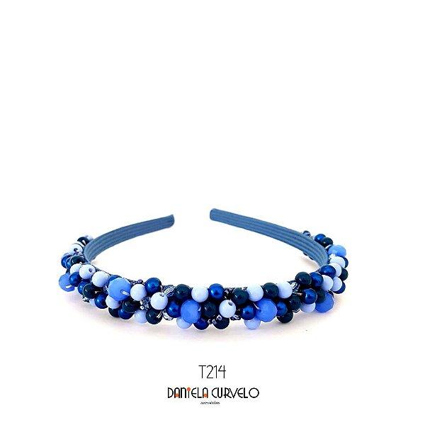 Tiara Bordada Fina Pedrarias Azul Bic - T214