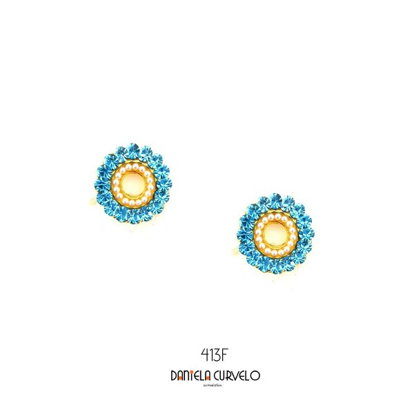 Brinco Redondo Azul Claro e Pérola - BF413AZ
