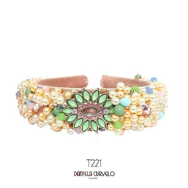 Tiara de Luxo Larga Candy Color Fundo Rosa Pingente Verde e Rosa - T221