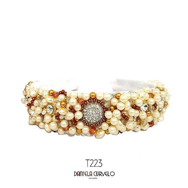 Tiara de Luxo Bordada Larga Branca Pérolas Cristais, Dourado e Cobre - T223