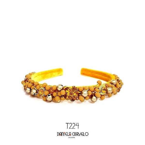 Tiara de Luxo Bordada Média Mostarda - T224