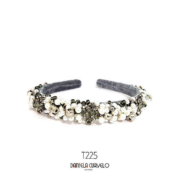 Tiara de Luxo Bordada Média Cinza - T225