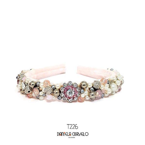 Tiara de Luxo Bordada Média Rosa Claro - T226