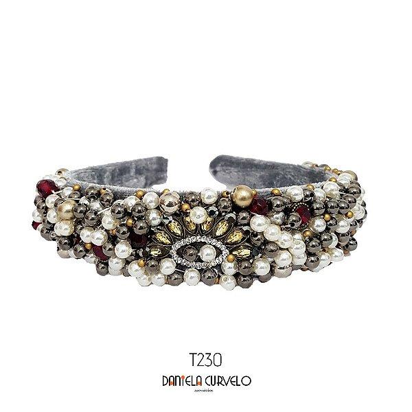 Tiara de Luxo Larga Cinza Prata e Vermelho - T230