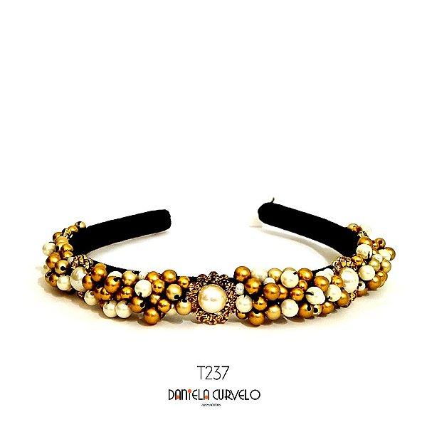 Tiara de Luxo Bordada Fina Preta Dourada Flor Pérola - T237