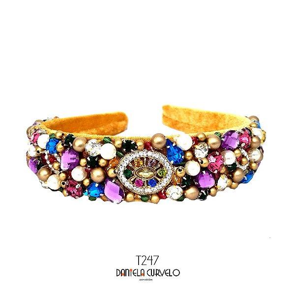 Tiara de Luxo Larga Mostarda Cristais Coloridos e Lilás - T247