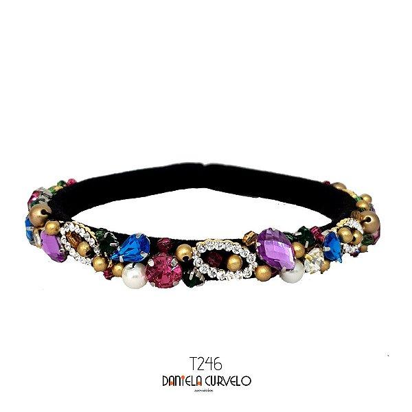 Tiara de Luxo Bordada Fina Preta Cristais Coloridos e Lilás - T246