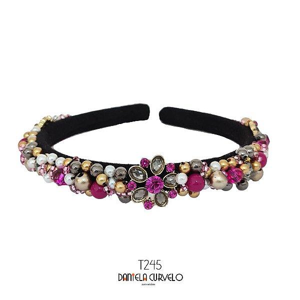 Tiara de Luxo Fina Preta, Flor Rosa Dourada e Cinza - T245