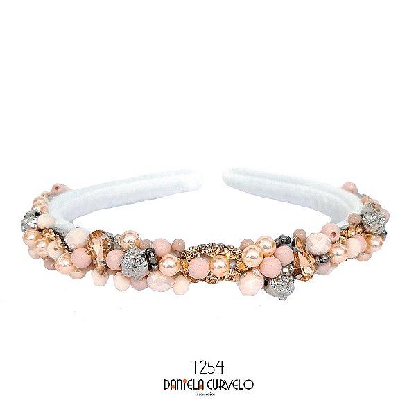 Tiara de Luxo Bordada Fina Branca Rosê e Prata T254