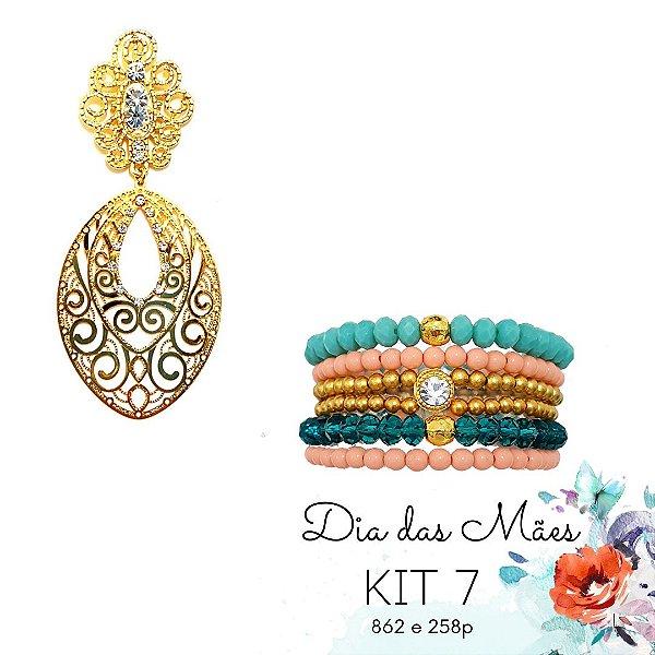 KIT 7 - Brinco Grande Dourado + Kit de Pulseiras Laranja e Rosa
