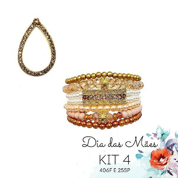 KIT 4 - Brinco Gota Dourada + Kit de Pulseiras Rosê